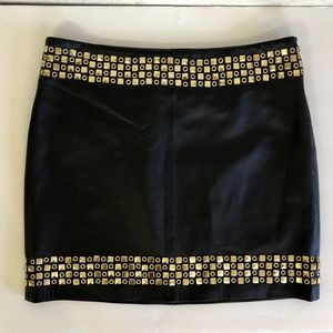 Tory Burch Black Leather Gold Studded Skirt